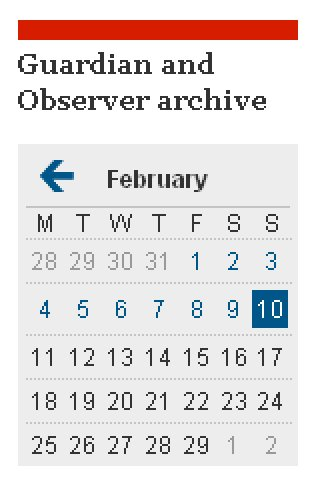 Guardian and Observer archive navigation