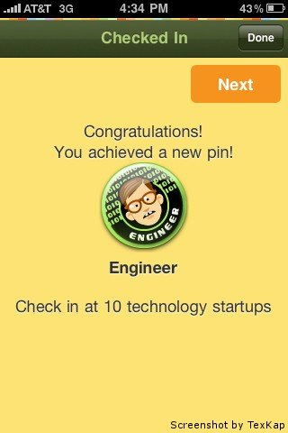 Startup pin. Screenshot by TexKap